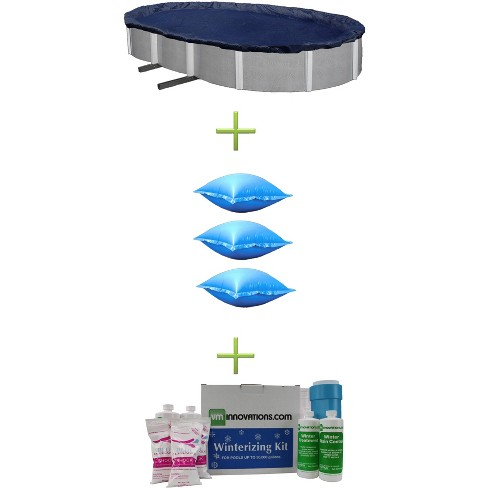 Swimline 21x41 Blue Oval Above Ground Pool Cover + Air Pillows + Winterizing Kit - image 1 of 2