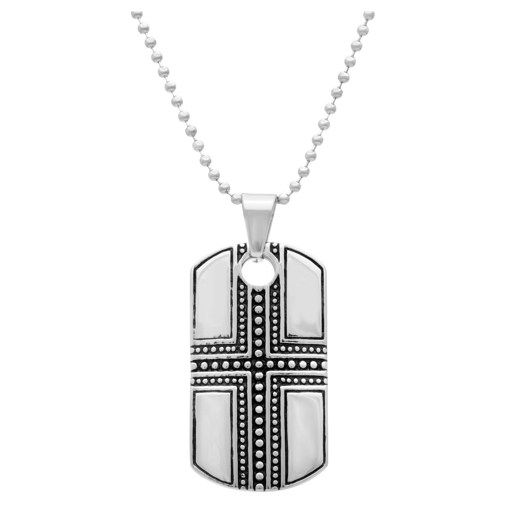 Men's Two-Tone Stainless Steel Cross Dog Tag Pendant, Silver