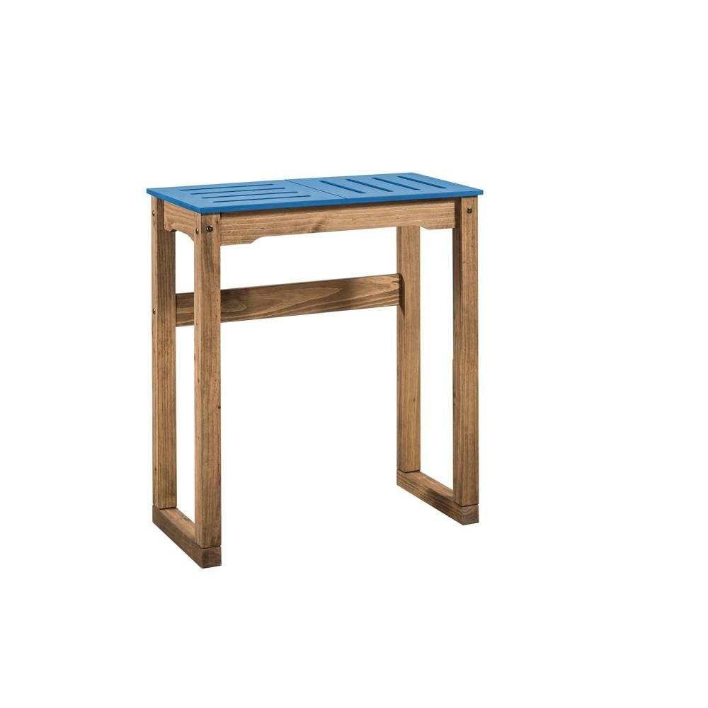 31.5 Mid Century Modern Stillwell Natural Wood Bar Table Blue - Manhattan Comfort