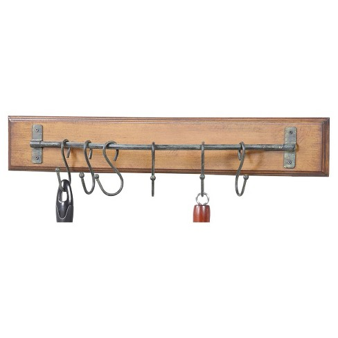 Wood Wall Decor with 6 Metal Hooks - image 1 of 2