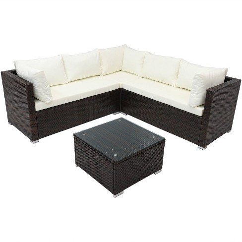 Groovy Port Laoise Rattan Sectional Sofa Patio Furniture Set Sunnydaze Decor Inzonedesignstudio Interior Chair Design Inzonedesignstudiocom