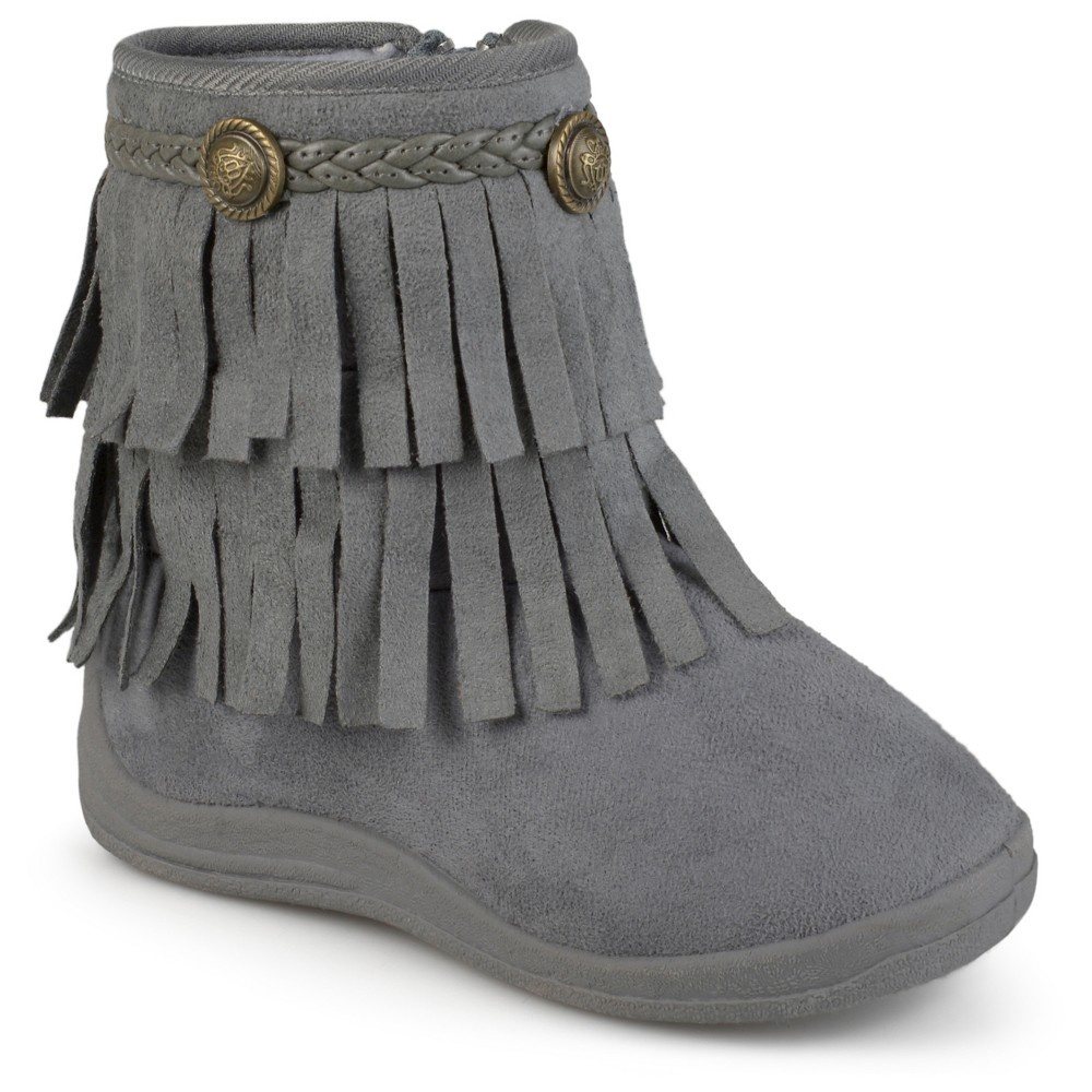 Girls' Journee Collection Anza Round Toe Fringed Fashion Boots - Gray 3