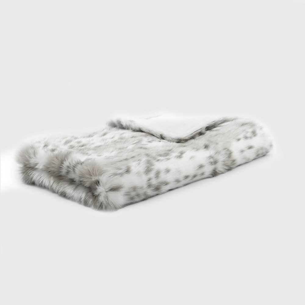 """50""""x60"""" Snow Leopard Faux Fur Throw Blanket Gray - Evergrace"""