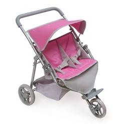 Trek 3-Wheel Folding Twin Doll Jogging Stroller - Gray/Pink