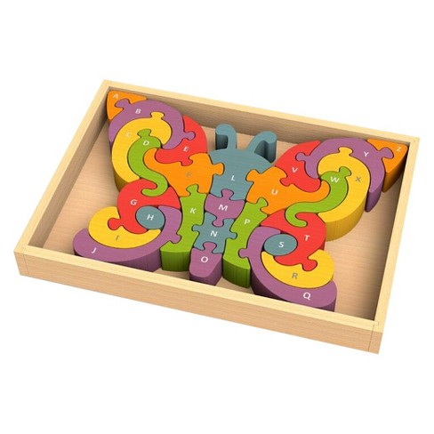 BeginAgain Wooden Butterfly A to Z Puzzle 26pc - image 1 of 3
