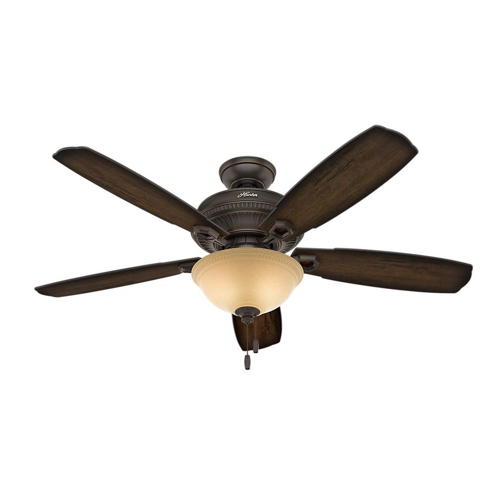 Image of 52 Ambrose Bowl Light Onyx Bengal Ceiling Fan with Light - Hunter Fan, Bronze