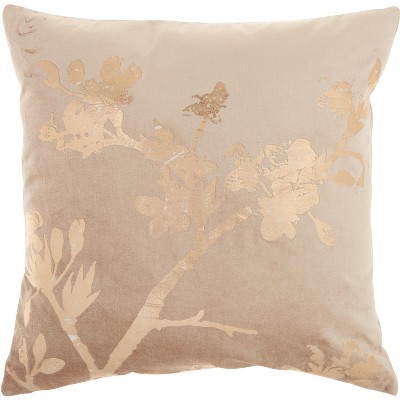 "Mina Victory Luminecence Metallic Blossom Rose Gold Pillow - 18""X18"""