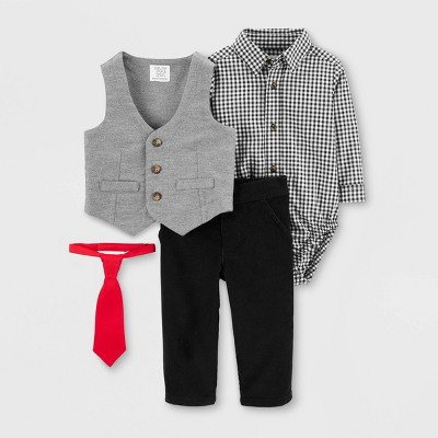 Baby Boys' Baby Boys' 4pc Holiday Vest Top & Bottom Set - Just One You® made by carter's Gray/Black Newborn