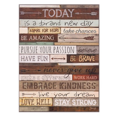 18 x24  Today Is A Brand New Day Wood Wall Art Brown - Patton Wall Decor