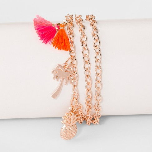 Pineapple, Palm Tree, Tassel and Linear Bar Charm Multi Row Bracelet- Rose Gold - image 1 of 1