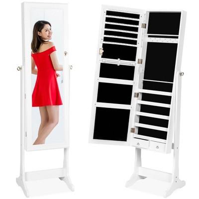 Best Choice Products 6-Tier Standing Mirror Lockable  Storage Organizer Cabinet Armoire w/ Velvet Interior