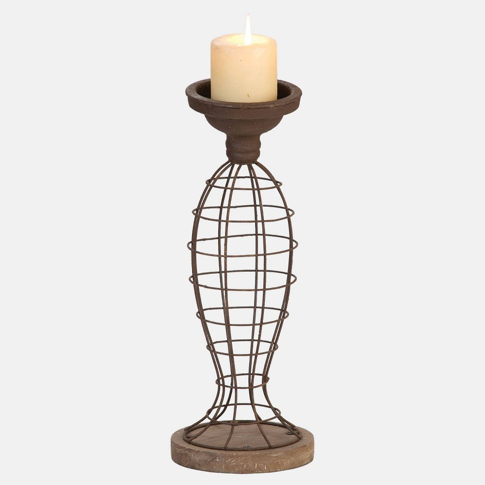 Image of Large Wire Pillar Candle Holder - Foreside Home & Garden, Brown