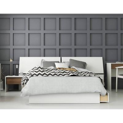 3pc Full Modus Bedroom Set Walnut/White - Nexera