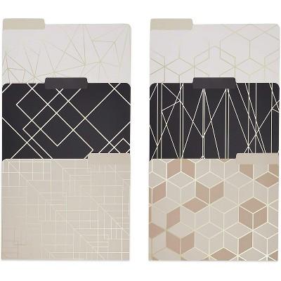 "12-Pack Geometric Decorative File Folder, Champagne Gold Foil Print, Letter Size, 1/3 Cut Tabs, 9.5"" x 11.5"""