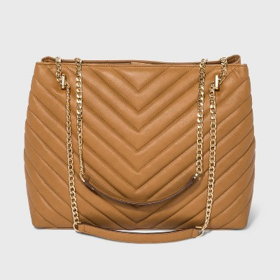 Quilted Chain Handle Magnetic Closure Tote Handbag - A New Day™