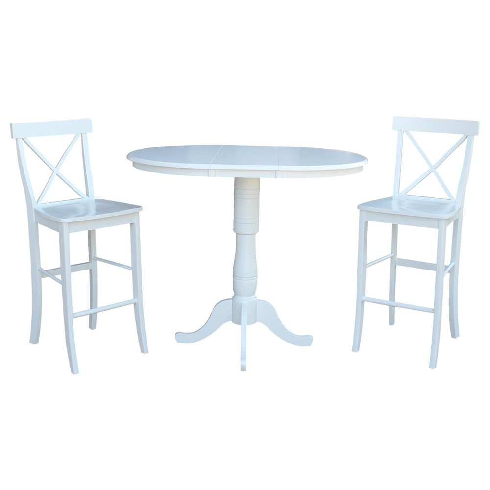 36 3pc Carla Round Extension Dining Table with 2 X Back Barheight Stools Set White - International Concepts