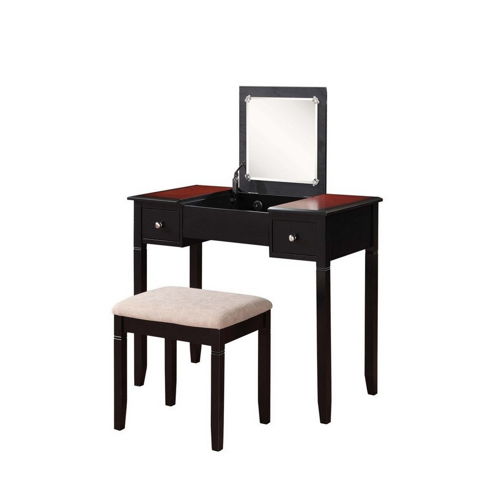 Camden Vanity Set Black Cherry (Red) - Linon