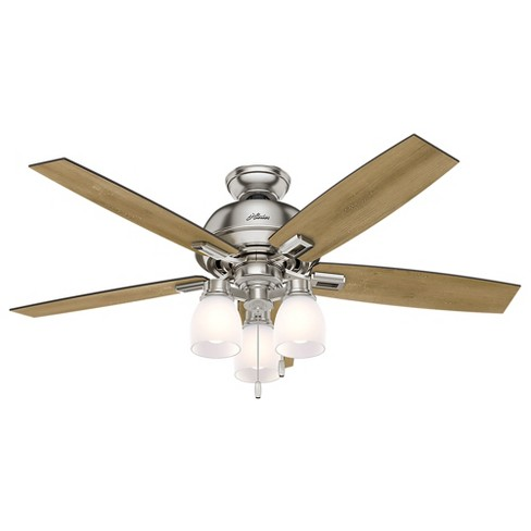"52"" Donegan Three Light Brushed Nickel Ceiling Fan with Light - Hunter Fan - image 1 of 10"