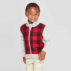 Toddler Boys' Plaid Sherpa Lined Zip-Up Sweater - Cat & Jack™ Red/Gray