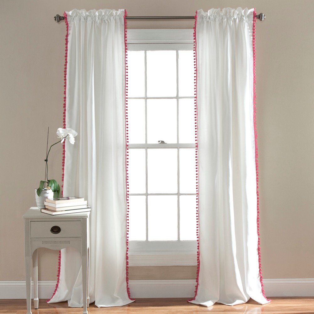 Pink Pom Pom Window Curtain (84
