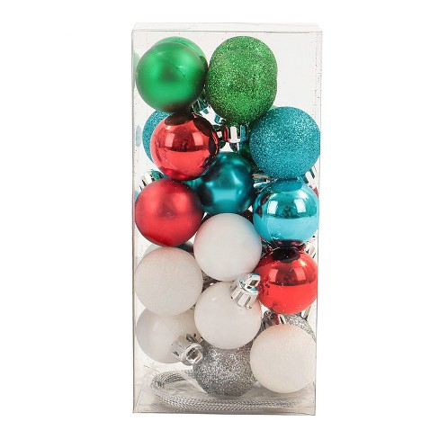 Mini Ball Plastic Christmas Ornament Set  Blue/White/Silver 25ct - Wondershop™ - image 1 of 2