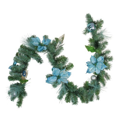 """Northlight 6' x 9"""" Unlit Blue/Silver Peacock and Poinsettia Artificial Christmas Garland - image 1 of 2"""