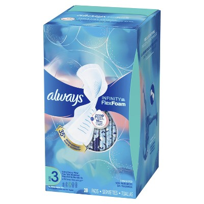 Always Infinity Extra Heavy Sanitary Pads with Wings - Unscented - Size 3 - 28ct