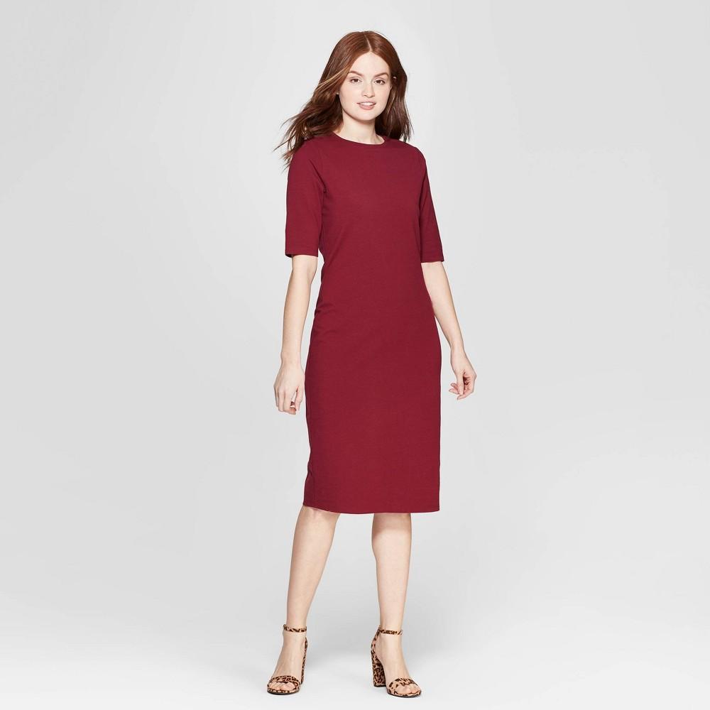 Women's 3/4 Sleeve Crewneck Knit Dress - A New Day Burgundy (Red) M