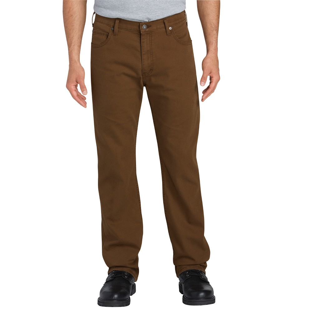 Dickies Men's Tough Max Flex Regular Straight Fit Duck Canvas 5-Pocket Pants - Walnut (Brown) 38x30