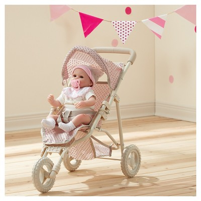 Olivia's Little World - Polka Dots Princess Baby Doll Jogging Stroller - Pink & Gray