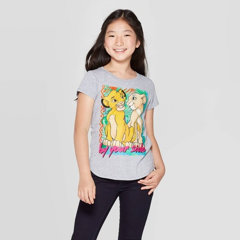 "Girls' The Lion King Simba and Nala ""By Your Side"" Short Sleeve T-Shirt - Heather Gray - image 1 of 3"