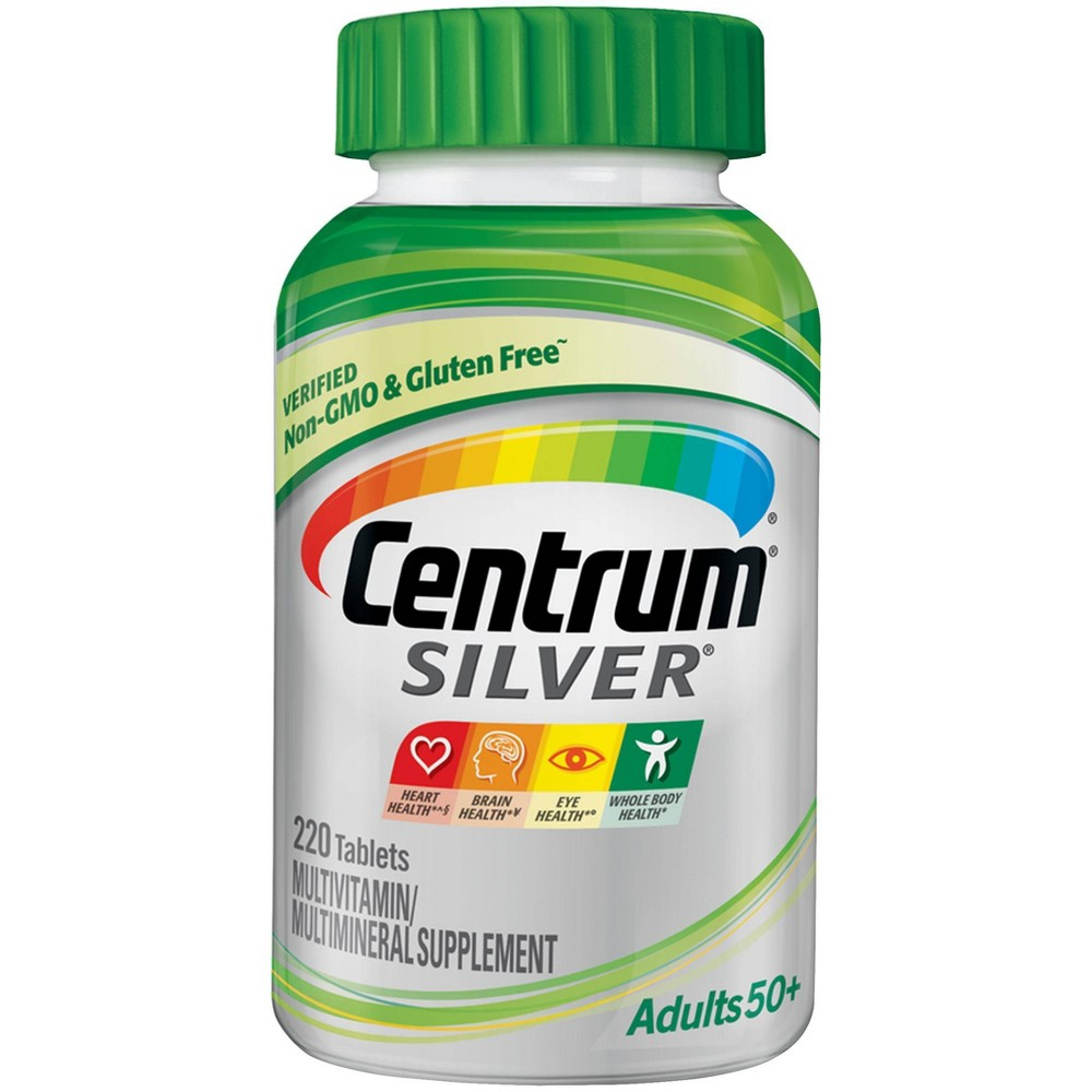 Centrum Silver Adults 50+ Multivitamin / Multimineral Dietary Supplement Tablets - 220ct Improve muscle health and provide strength to your bones with these Silver Adult Multivitamin/Multimineral Dietary Supplement Tablets from Centrum. These soft-coated multivitamin supplements are loaded with 30 key nutrients and various vitamins and minerals to maintain strong bones and promote overall good health. Intended for adults over 50 years of age, these multivitamin and multimineral supplement tablets will keep you fit and active to take on anything your day brings. Size: 220 Count. Gender: Unisex.