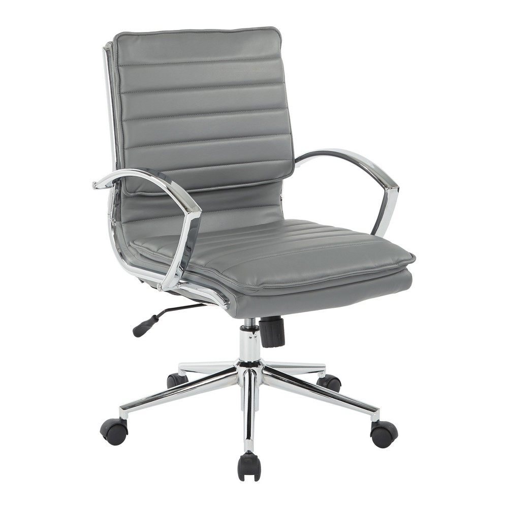 Mid Back Manager's Faux Leather Chair With Chrome Base Charcoal Black - Osp Home Furnishings