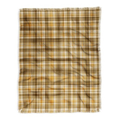 "50""x60"" Lisa Argyropoulos Holiday Butternut Plaid Woven Throw Blanket Brown/Yellow - Deny Designs"