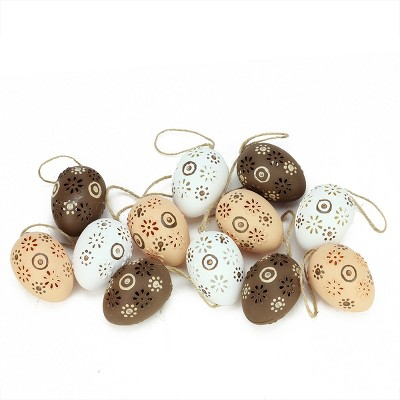 """Northlight 12ct Floral Cut-Out Spring Easter Egg Ornaments 2.25"""" - Brown/White"""
