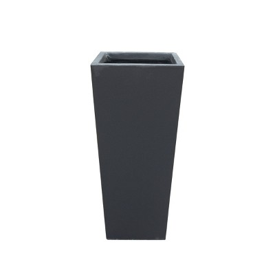 "24.4"" Kante Lightweight Modern Tapered Concrete Rectangular Planter Charcoal Black - Rosemead Home & Garden, Inc."