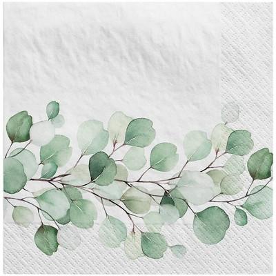 30ct Botanical Disposable Lunch Napkins Sage - Spritz™