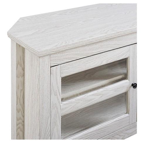 44 Wood Corner Tv Media Stand Storage Console White Saracina