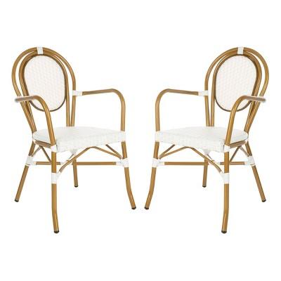 Rosen 2pk French Bistro Patio Stacking Arm Chair - White - Safavieh