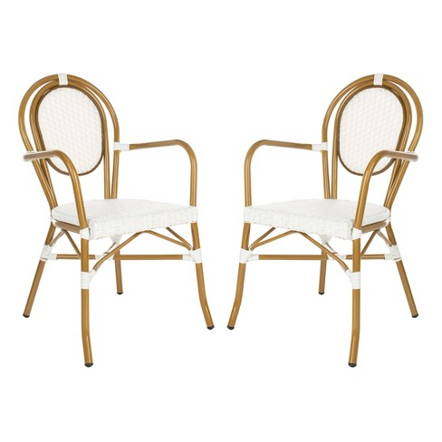 Rosen 2pk French Bistro Patio Stacking Arm Chair - White - Safavieh - image 1 of 4