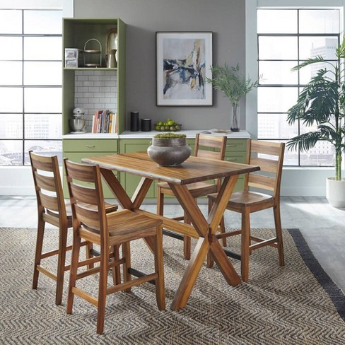 Forest Retreat High Dining Table Set Brown - Home Styles