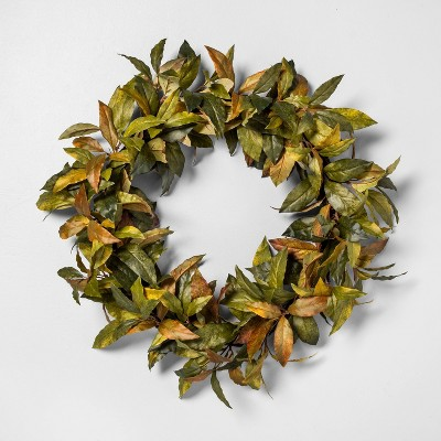 """24"""" Faux Bay Leaves Wreath - Hearth & Hand™ with Magnolia"""