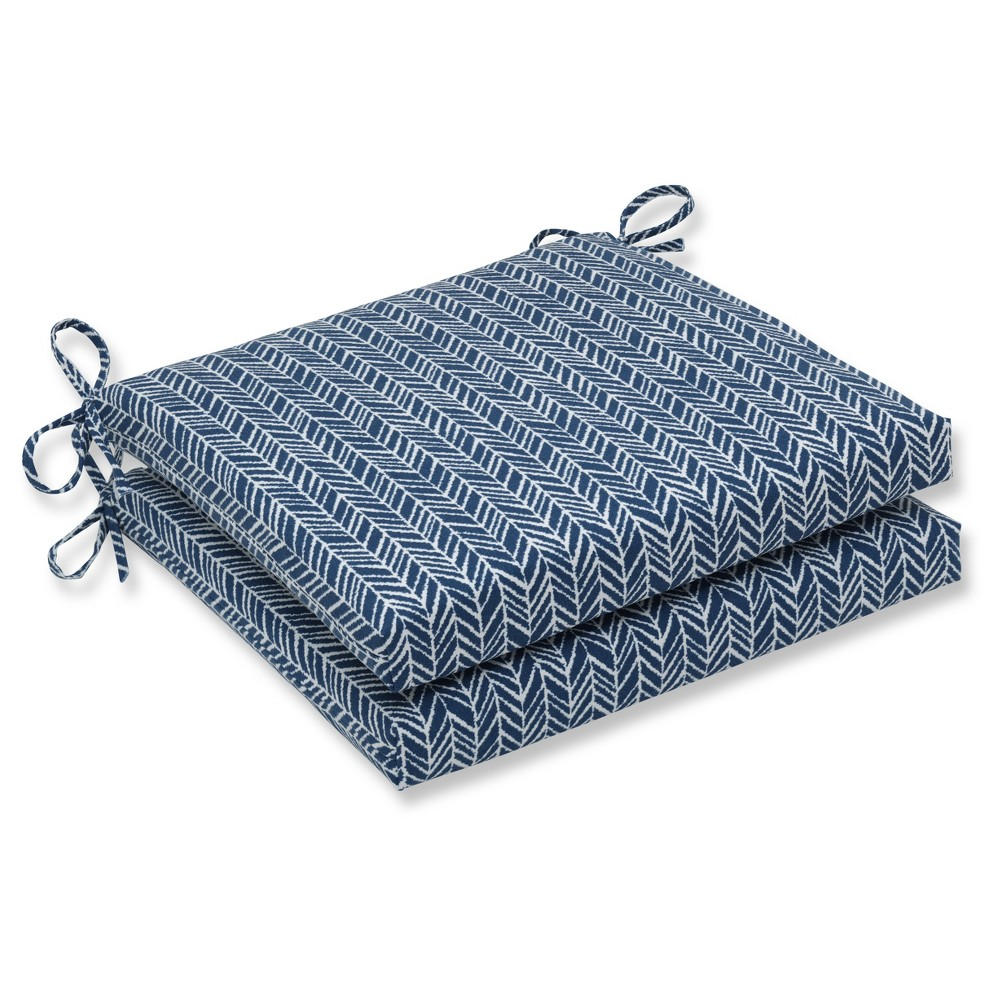 Outdoor/Indoor Herringbone Ink Blue Squared Corners Seat Cushion Set of 2 - Pillow Perfect