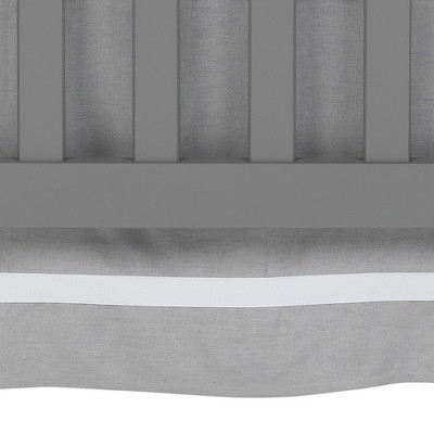 Lambs & Ivy Signature Gray Linen with White Trim 4-Sided Crib Skirt