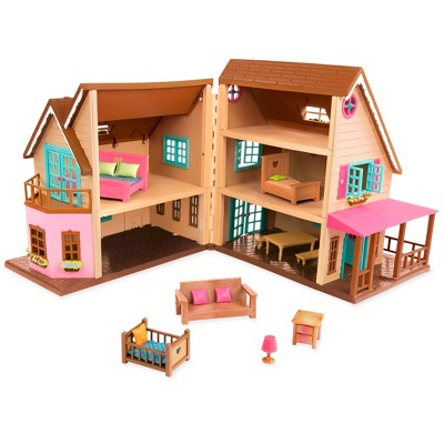 Li'l Woodzeez Toy House with Furniture 20pc - Honeysuckle Hillside Cottage