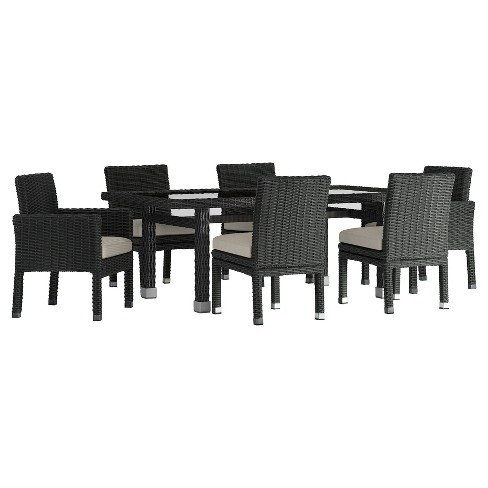 Riviera Pointe 7pc All-Weather Wicker Glass Top Patio Dining Set w/ Cushions - Inspire Q - image 1 of 1