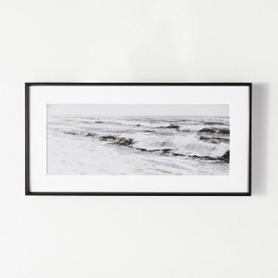"24"" x 12"" Large Beach Scene Framed Wall Art White/Black - Threshold™ designed with Studio McGee"