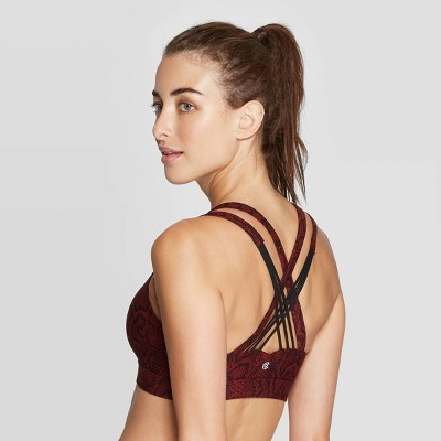 Women/'s Criss-Cross Strappy Back Cami Sports Bra C9 Champion Gray// Black