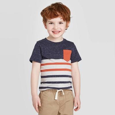 Toddler Boys' Stripe T-Shirt - Cat & Jack™ Navy/Orange