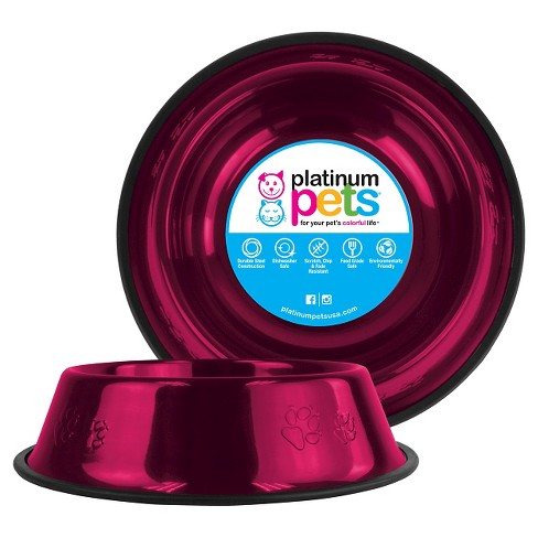 Platinum Pets Embossed Non-Tip Cat/Dog Bowl - Raspberry Pop - 3.5 Cup - image 1 of 2